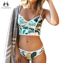 2017 Sexy Floral Biquini Tanga Zipper High Neck Schwimmen Badeanzug Plus Size Bademode Frauen Brazilian Bikini Push Up Badeanzug(China)