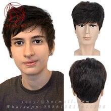 Healthy full Remy Human real font b hair b font wigs for men Short font b