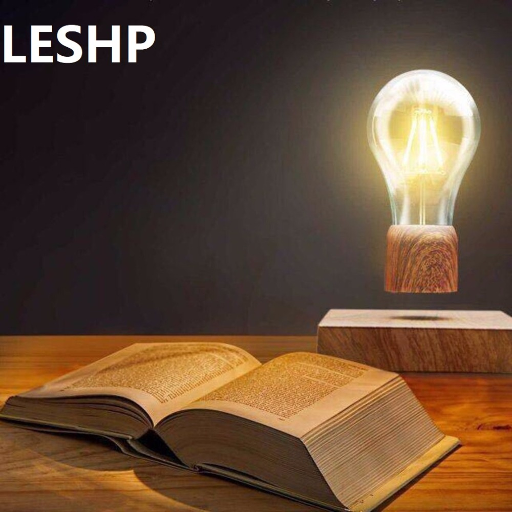 LESHP Magnetic LED lamp Floating Light Bulb Night Light Wood Color Base Lamp For Home Decoration Living Room Bedroom Desk Light стоимость