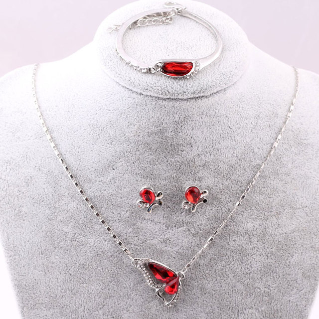 Sales 2018 New Butterfly Jewelry Sets Necklace + Earring+Bracelet Crystal Set Fashion Jewelry 2
