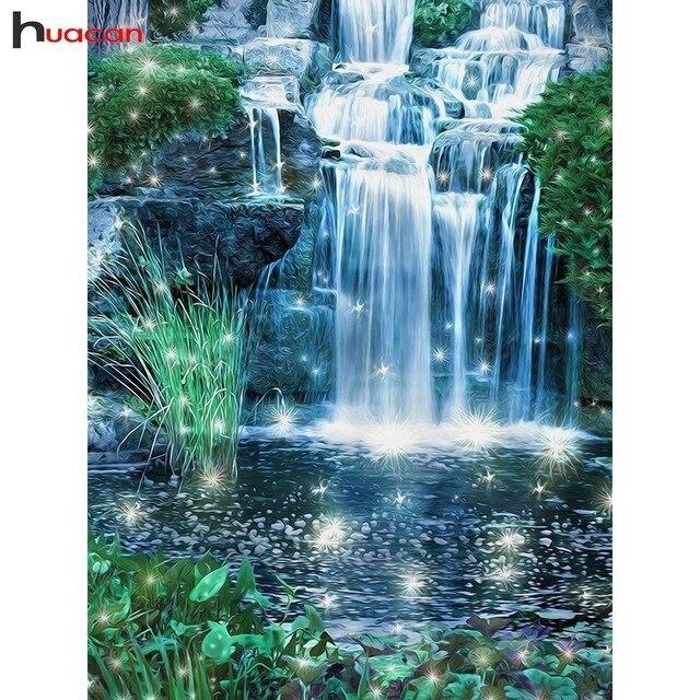 Huacan Алмазная мозаика вышивка крестиком пейзаж полный квадратный дрель Настенный декор горный хрусталь Алмазная вышивка водопад 5D ручной работы