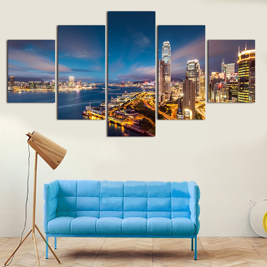 unframed 5 pcs high quality cheap art pictures city large