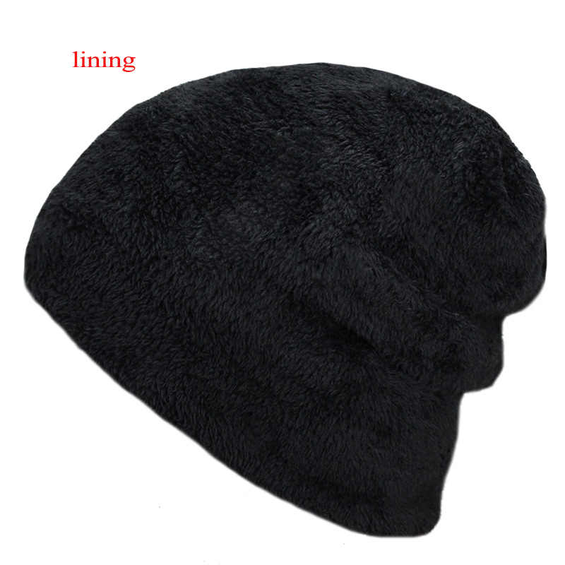 a67e412e1ef5 ... New Men s winter Fall hat fashion knitted black ski hats Thick warm hat  cap Bonnet Skullies ...