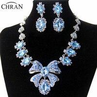Chran Promotions De Luxe Arc Cravate Bleu Ensembles de Bijoux De Mode Femmes En Cristal Strass De Noce Nuptiale Collier et Boucles D'oreilles
