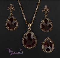 Luxury Party Jewelry Sets Antique Gold Color Stone Crystal Necklace Red heart Geometric Pendant Necklace Earrings Set