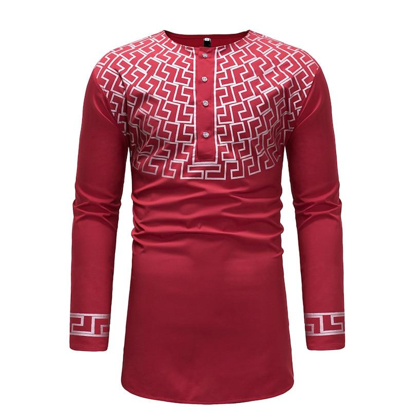 African style man dashiki long-sleeved T-shirt printing men's clothing V-neck design (2)