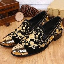Новая Мода мужская Индивидуальные Обувь Золотая Линия Вышивка Натуральная Кожа Мокасины Партия Обуви Zapatos Mujer Эспадрильи Мужчины Обувь