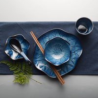 Prato de comida gradiente tigela copo pires colher sopa conjunto estilo japonês louça folha lótus sushi bandeja arroz tigela xícara de chá 5 pçs/set