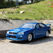 1:32 Nissan GTR Alloy Car Model Real Restore Favorites Decoration Children Toys Car(China)
