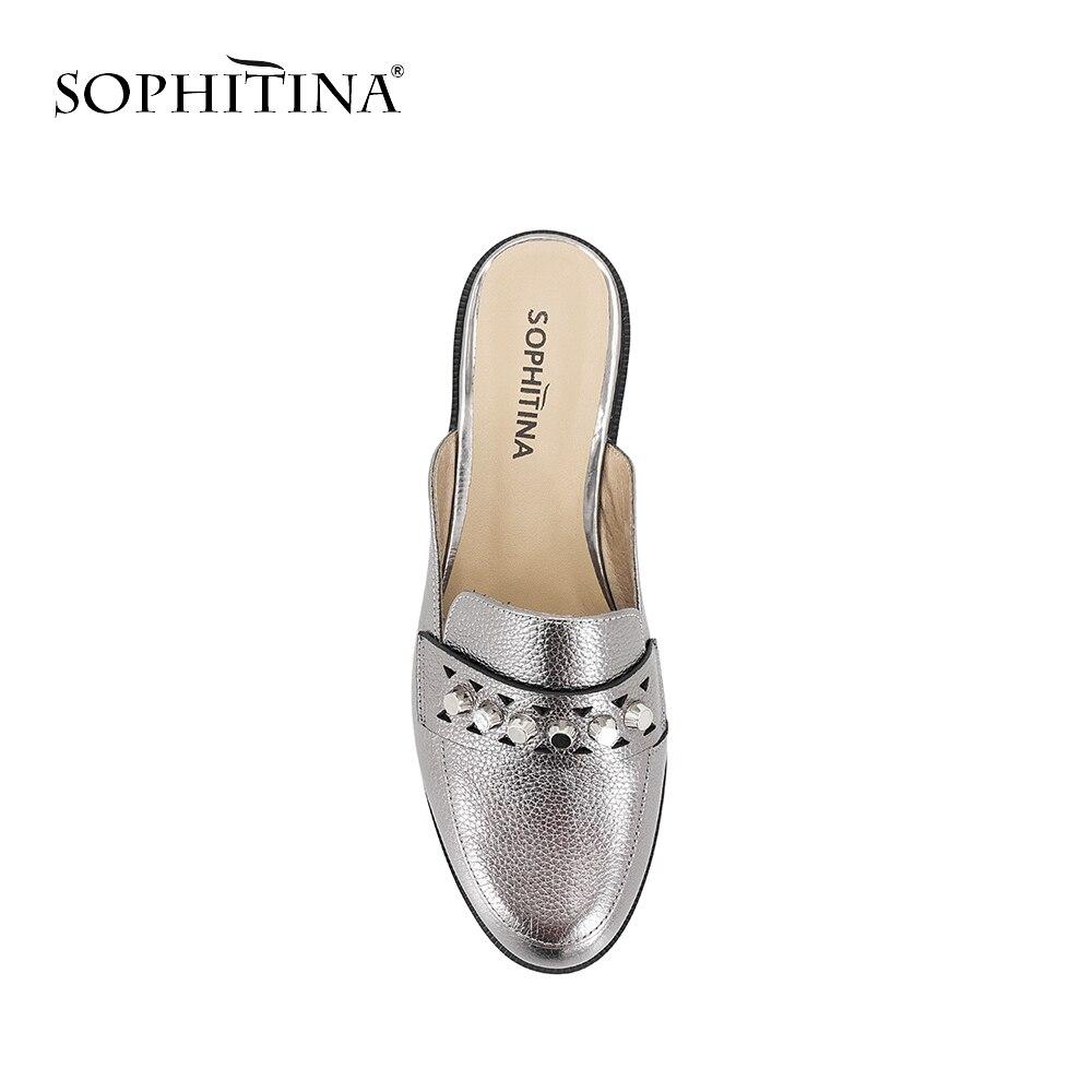 e8bc6f3edc4ae Rond Bout Femme Slip Peau Argent Mules En Silver Sophitina P19 Cuir Plat  Vache Rétro De Lady Nouvelle Chaussures ...