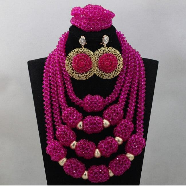 2017 Amazing Fuchsia Pink Chunky Big African Beads Jewellery Set Hot Pink Beads Women Statement Necklace Set Free ShippingABL803
