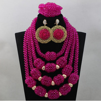 2017 Amazing Fuchsia Pink Chunky Big African Beads Jewellery Set Hot Pink Beads Women Statement Necklace Set Free ShippingABL803