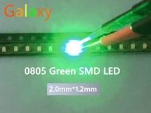500 pces ultra brilhante 0805 smd led verde novo lighte 560-575nm 70-200mcd i (ma): 20ma