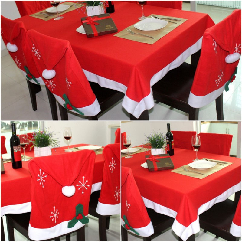 Christmas Santa Hat Chair Cover Red Large Tablecloth Cover Dinner Table Decor Party Restaurant Banquet Decorations 128 x 184CM
