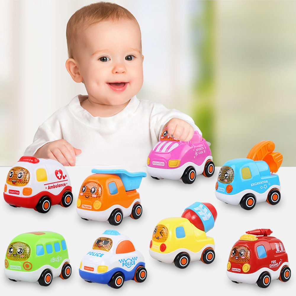 3Pcs/set Cartoon Mini Construction Vehicle Cars Pull Back Car Resistance Fall Vehicle Toys For Children Under 6 Random Delivery
