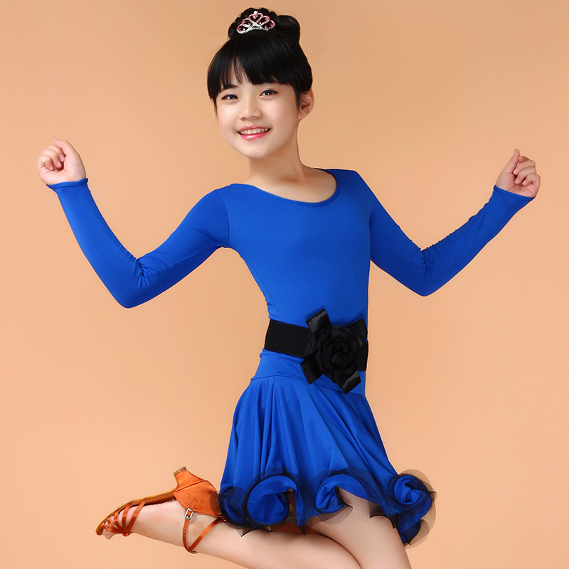 Vestido De Baile Latino Kids Dance Costumes Practice/Competition Dancing Clothes Latin Dance Dress For Girls Spandex Dance Wear