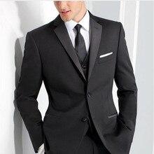 Красивый классический жениха мужской костюм Индивидуальный заказ черный Нарядные Костюмы для свадьбы для Для мужчин 3 предмета Для мужчин s Бизнес костюмы Slim Fit женихов мужской костюм