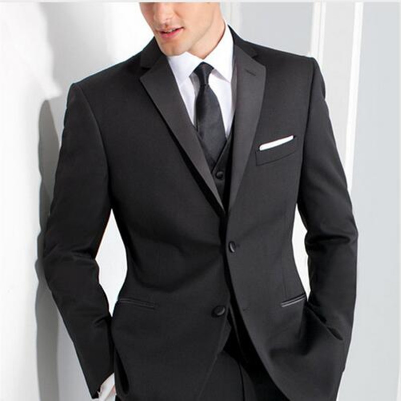 Handsome Classic Groom Men Suit Custom Made Black Wedding Suits For Men Three Piece Mens Business Suits Slim Fit Groomsmen Suit