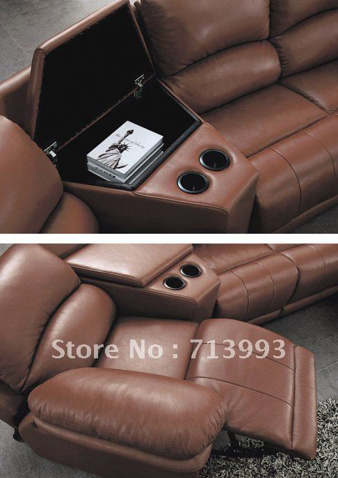 Corner Recliner Sofa Functional Sofa With Cup Holder Leather Sofa In