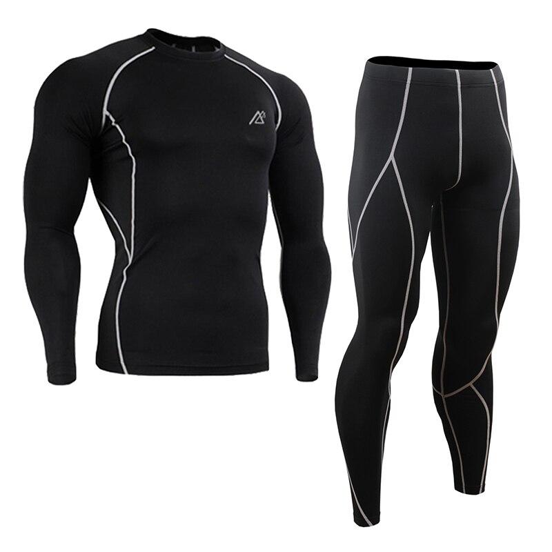 Leben auf der spur Compression Baselayer T shirt Männer Lange/Kurzarm Fitness Set Gymnastik Laufhose/Leggings Plus Größe