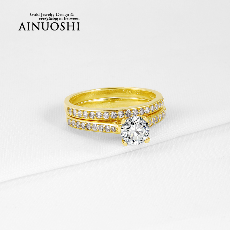 Romantic Real 10K Yellow Gold Wedding Bijoux 0.7ct Round Cut Sona Simulated Diamond Ring Sets for Women Engagement Fine Jewelry