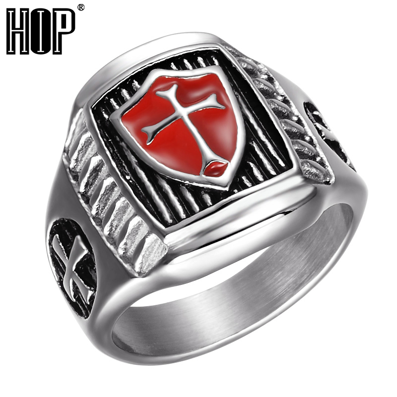 HIP Punk Shield Knight Templar Crusader Cross Ring Biker Titanium Stainless Steel Rings for Men Jewelry punk style layered stainless steel cross ring for men