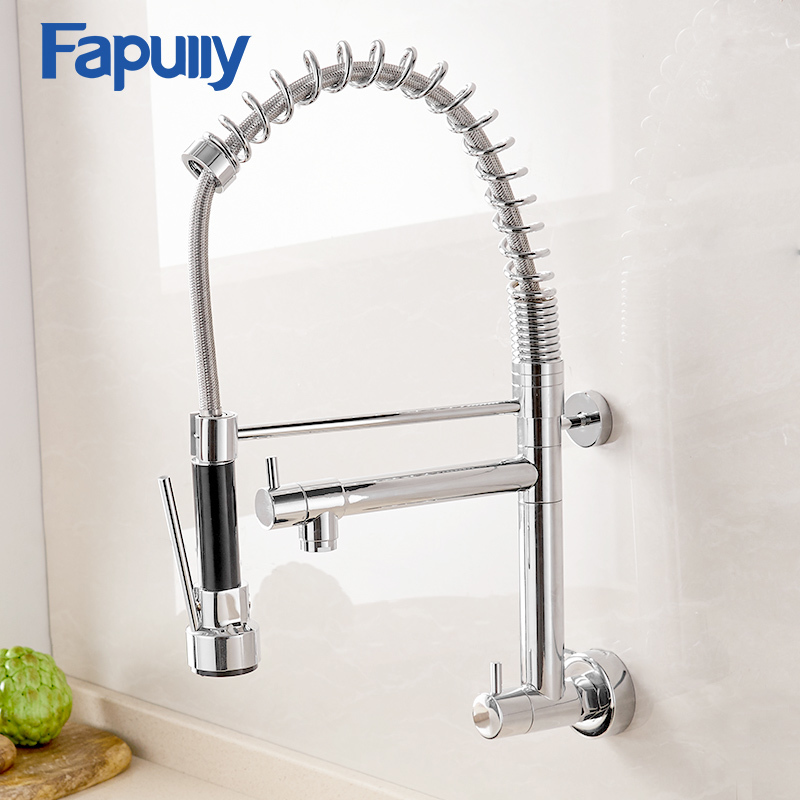 Fapully High Quality Chrome Finished Pull Out Spring Kitchen Faucet Swivel Spout 360 Degrees Vessel Sink Mixer Tap Hot and Cold стоимость