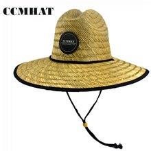 CCMHAT Wide Brim Straw Hat For Women Chapeu Feminino Windproof Rope Sombrero Summer Sun Hats Men Lifeguard Palha De Praia Toca