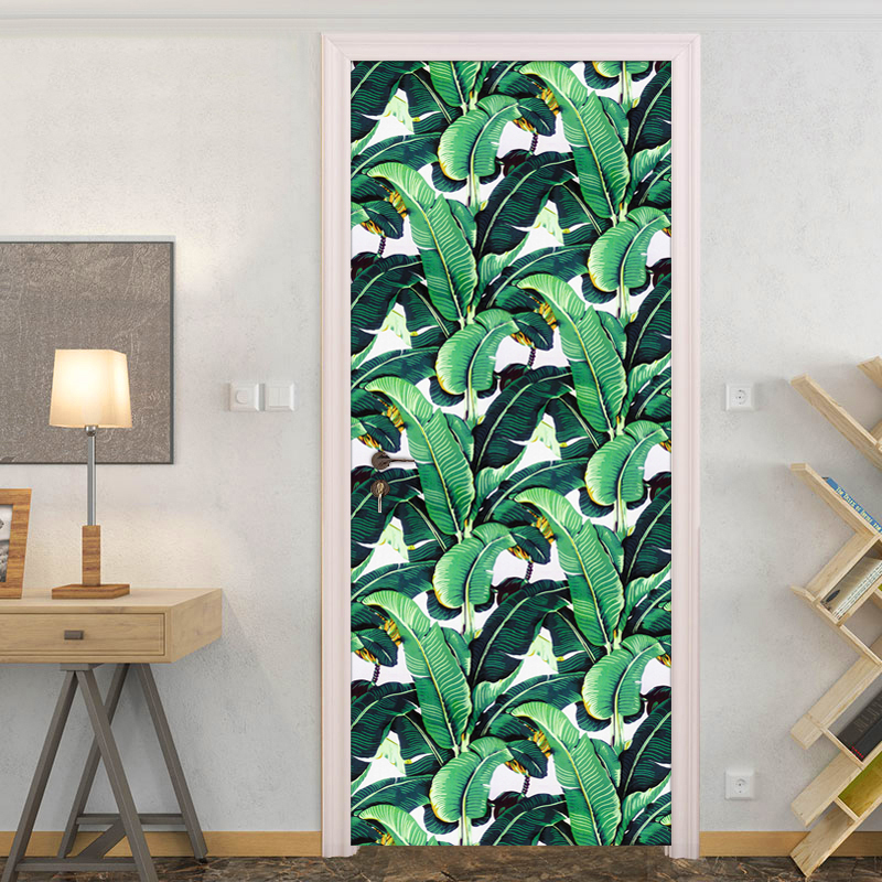 3D Door Sticker PVC Self-adhesive Mural Rain Forest Green Banana Leaf Photo Wallpaper Creative Living Room Bedroom Door Sticker creative letters design adventure diy pvc sticker adhesive wallpaper