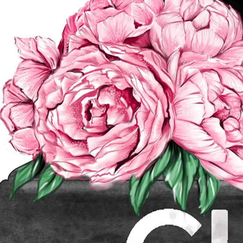 Impresión de pared de revista de moda, tacones altos y pintalabios, póster de moda, lienzo de flores rosadas, pintura para habitación de chicas, decoración del hogar