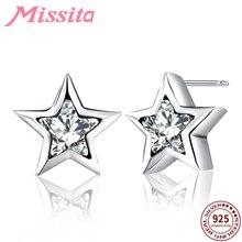 MISSITA 100% 925 Sterling Silver Sparkling Star Earrings For Women Jewelry Brand Wedding Stud Earring HOT SELL