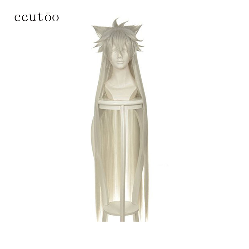 ccutoo Pandora Hearts Alice 120cm Silver White Long Straight Fluffy Synthetic Hair Heat Resistance Cosplay Full Wigs
