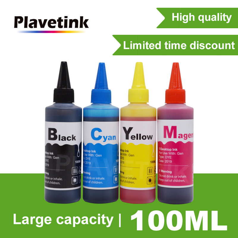 Plavetink 100ml Bottle Dye Ink Refill Kit 4 Color For HP 301 302 304 123 300 121 122 123 140 141 21 22 XL Printer Cartridges