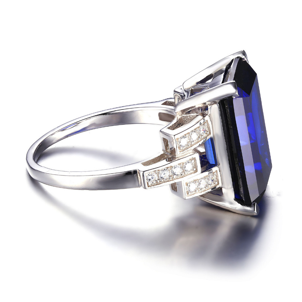 sapphire ring fine cocktail white elongated blue pin rectangle cz