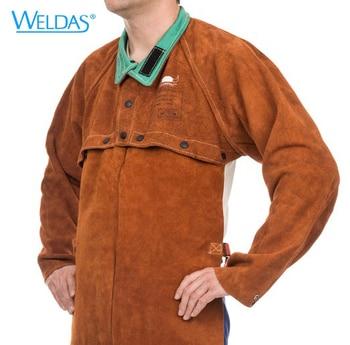 цена на Cow Leather Welding Apron Jackets Fire Retardant Flame Retardant Split Cow Leather Cape With Bib Welding Clothing