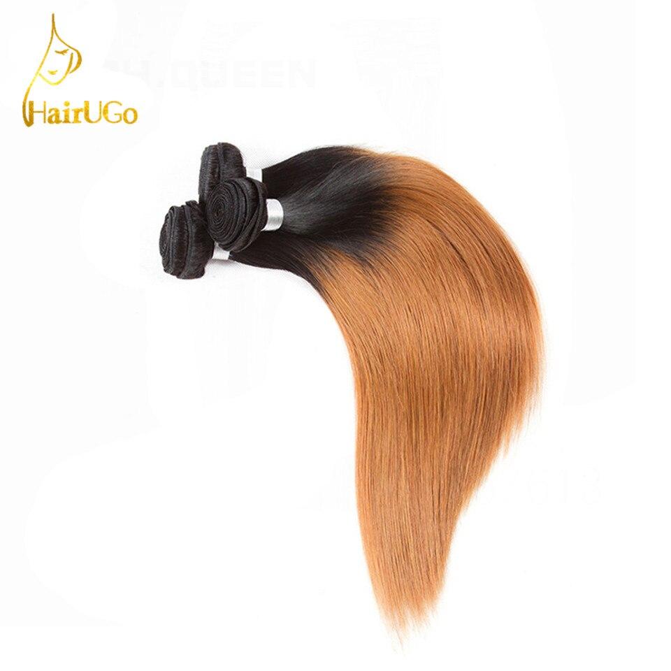HairUGo Hair Ombre Hair Pre-colored 100% Human Hair Peruvian Straight Bundles Hair Extension #1B/30 Non Remy