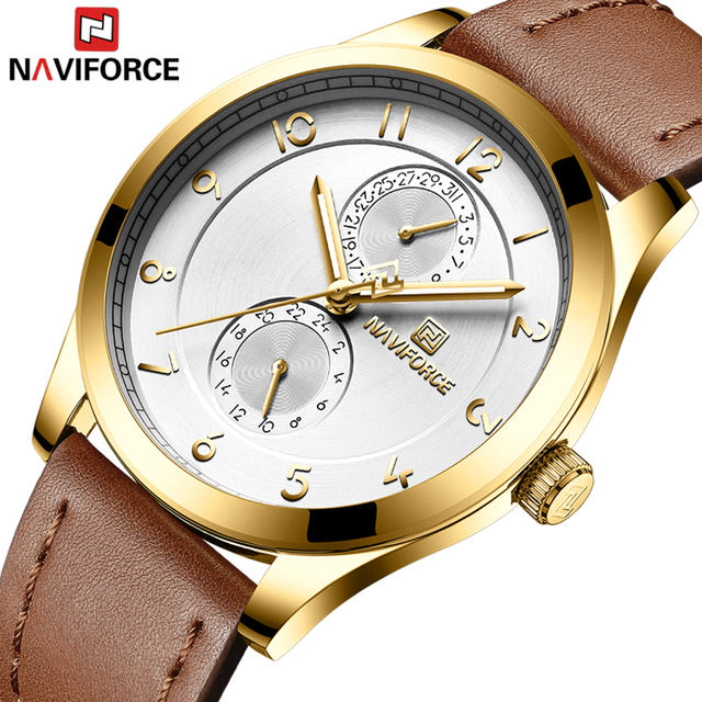 NAVIFORCE Top Luxury Brand Gold Stainless Steel Case Leather Strap Watches Men Simple Business Analog Quartz Male Time Clock
