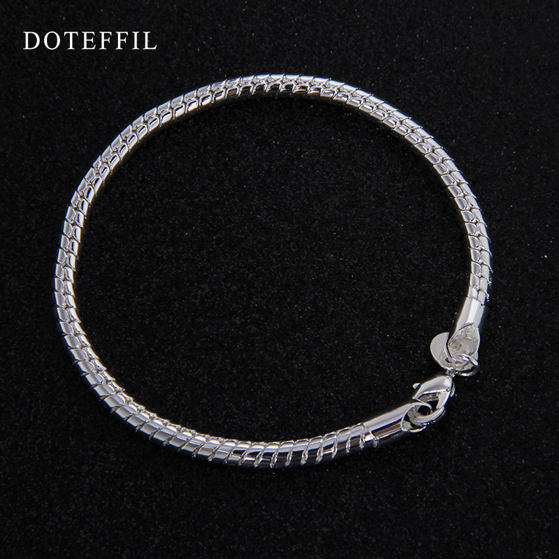 1 st 925 Sterling Silver Hummer Clasp Snake Chain Fit Europa Charm - Märkessmycken - Foto 4