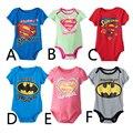 Nova Chegada Do Bebê Romper Algodão de Manga Curta Superman Batman One Piece Ternos Do Corpo Do Bebê Romper Roupas Para 0-2 T CD67