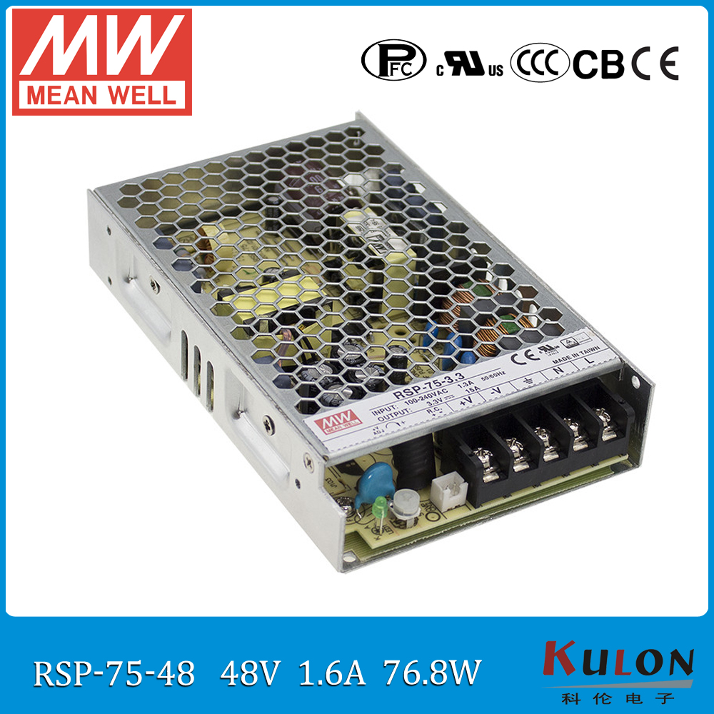 Original MEAN WELL RSP-75-48 48V 1.6A 75W Power Supply Meanwell ac-dc 48V power supply with PFC function [cheneng]mean well original rsp 100 48 48v 2 1a meanwell rsp 100 48v 100 8w single output with pfc function power supply