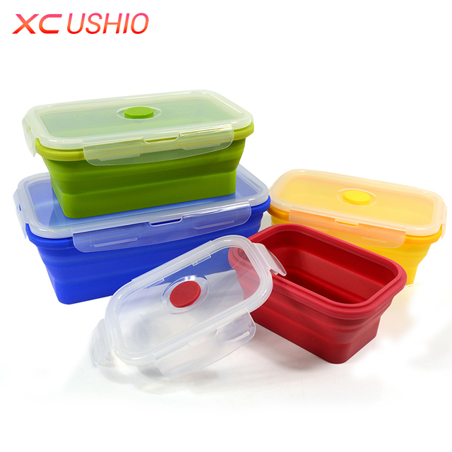 Folding Silicone Lunch Box Food Storage Container Kitchen Microwave