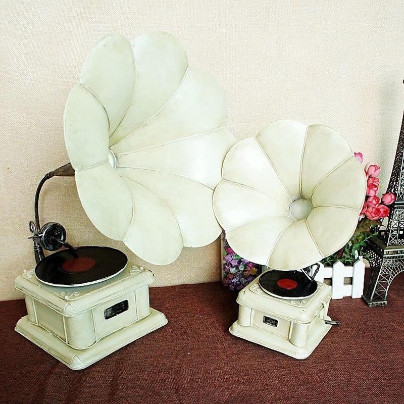Vintage rétro phonographe modèle meubles en métal Miniature cadeaux artisanat ornements Bar café décoration de la maison accessoires artisanat cadeau