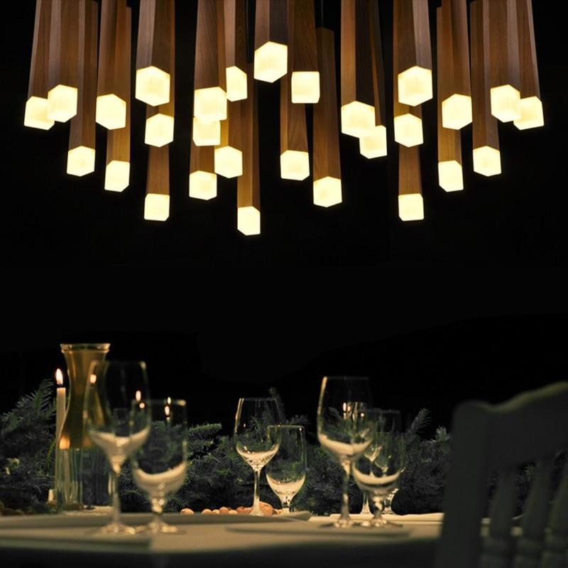 Led bois pendentif lumi¨res moderne suspension lampe Nordique