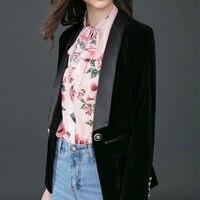 High Quality Newest Runway Designer Blazer 2018 Velvet Blazer Women Black Long Sleeve Blazer Jacket Outwear