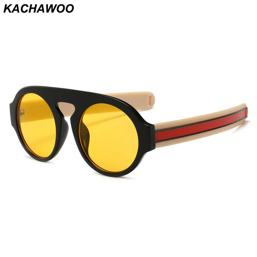 25c9230296e3 Kachawoo Round Sunglasses Men Modern Accessories Thick Frame Yellow Black Retro  Sun Glasses Women Fashion 2019