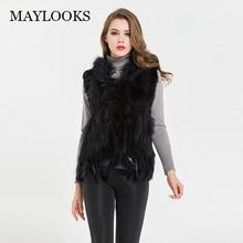 Maylooks womens natural real rabbit fur vest with raccoon fur collar waistcoat/jackets rex rabbit knitted winter Cs79