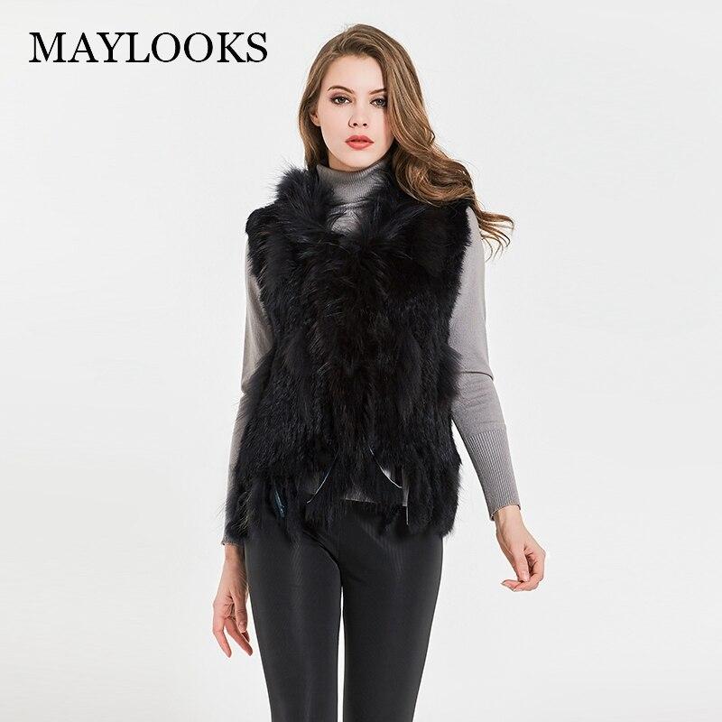 Maylooks женская натуральная с натуральным кроличьим мехом жилет с мехом енота жилет/Куртки кролика рекс вязаная зимняя Cs79