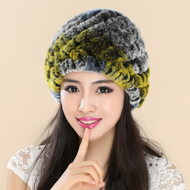 Fur Women's Hats Winter Gorros Caps Hat Knitted Headgear Caps Beanies Womens Skullies And Beanies Rex Rabbit Genuine Fur Hats