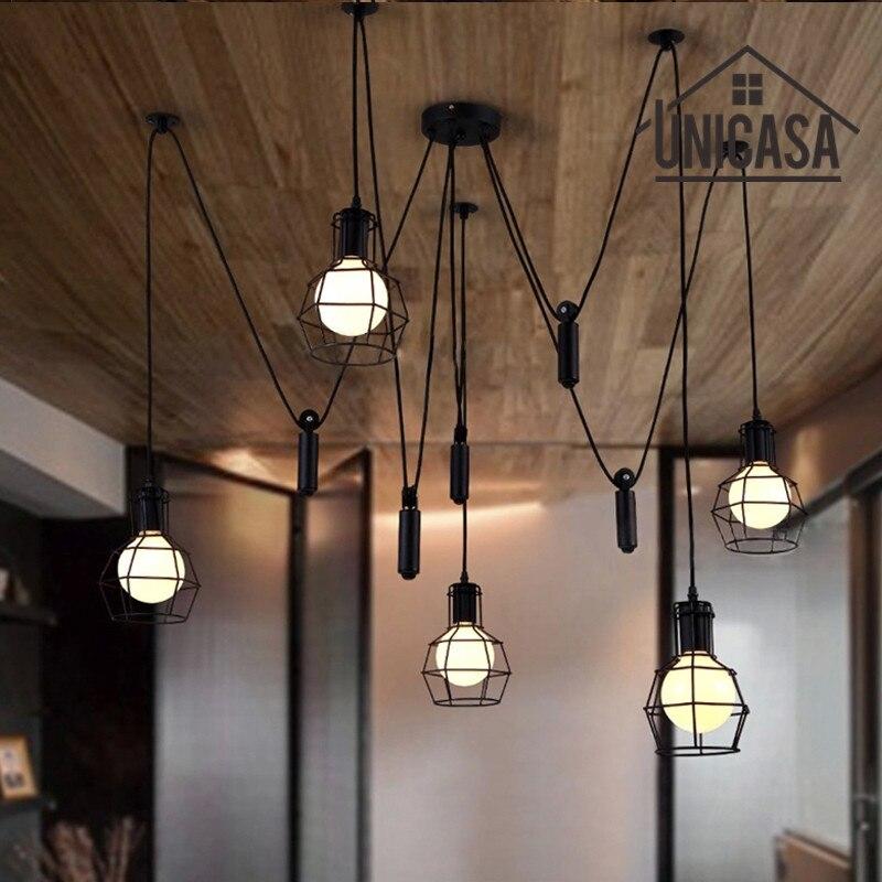 US $131.76 47% di SCONTO|Grandi lampade pendenti ferro nero illuminazione  industriale bar ufficio soggiorno cucina isola led luce ciondolo antico ...