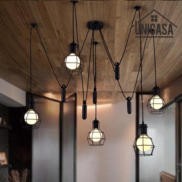 Grote hanglampen zwart ijzer industriële verlichting bar kantoor ...